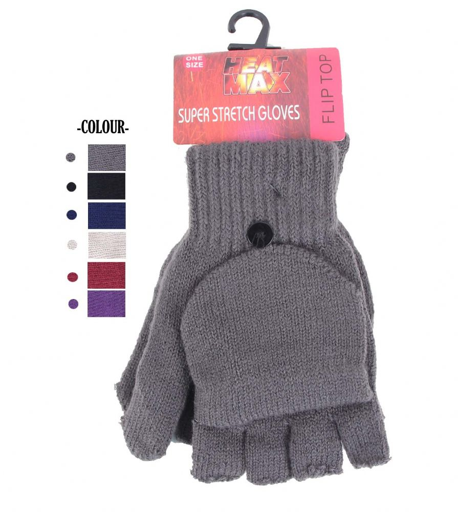 Fingerless Knit Mitten Gloves Assorted colours